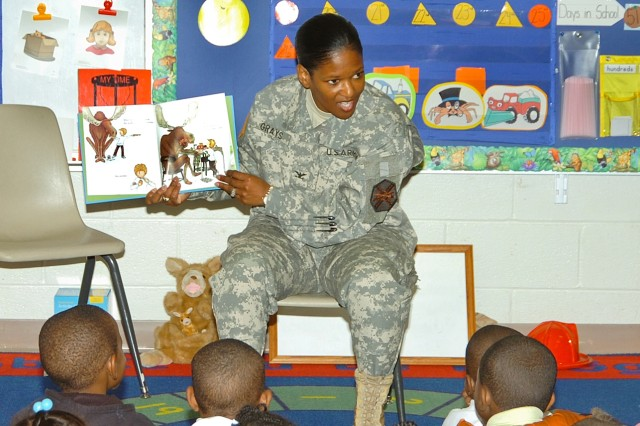 Col. Deborah B. Grays, commander for Fort McPherson and Fort Gillem, Ga. reads to a kindergarten class at Perkerson Elementary School on Oct. 28, 2008 where she was principal for a day.