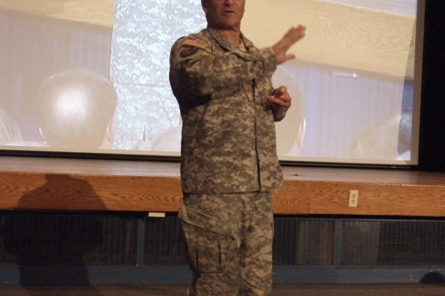 Army Chief of Staff Gen. George W. Casey Jr. addressed approximately 500 Fort Monmouth personnel at Pruden Auditorium and thousands of other CECOM LCMC and Army Team C4ISR command members watching via video-teleconference.