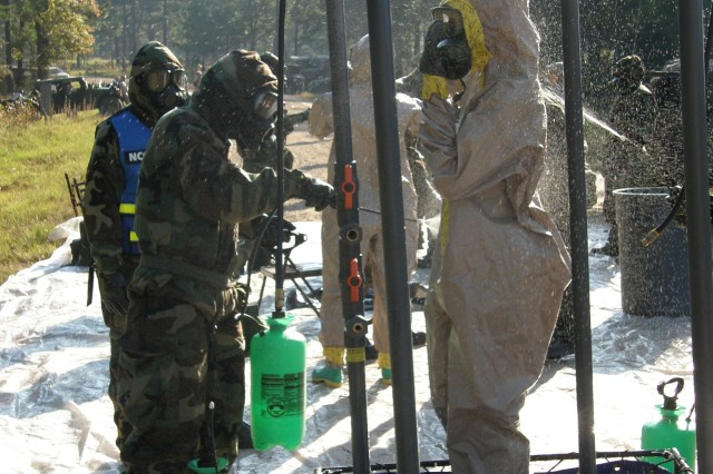 Soldiers from Fort Polk's 51st Chemical Company, 83rd Chemical Battalion, man a decontamination station during training Oct. 21-23.