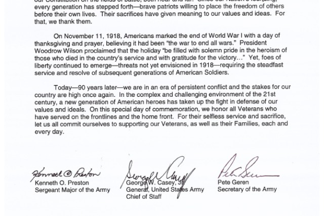 The 2008 Veterans Day Letter signed by the Sgt. Maj. of the Army, Chief of Staff of the Army, and the Secretary of the Army.