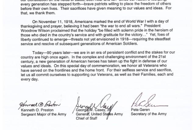 2008 Veterans Day Letter