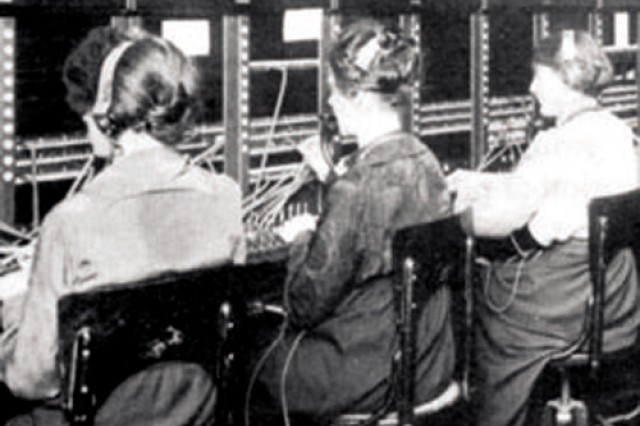 """During World War I, the United States Army Signal Corps enlisted approximately 700 women into its ranks, commonly referred to as """"Hello Girls."""" More than 300 """"Hello Girls"""" served overseas as bilingual French-speaking telephone"""