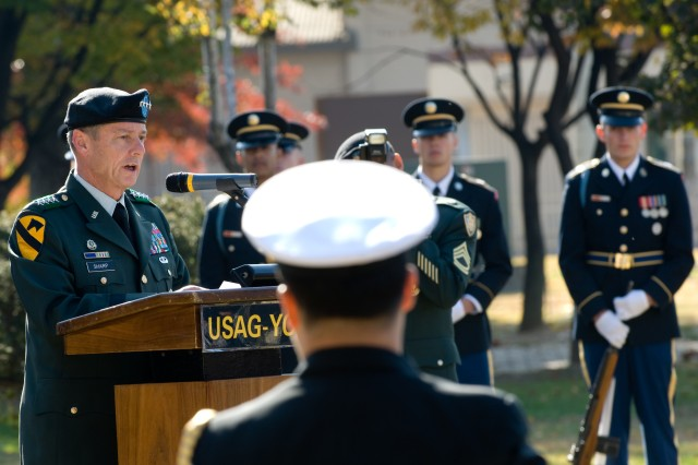Gen. Walter Sharp, United Nations Command, Combined Forces Command and U.S. Forces Korea commander, pays tribute to America's veteran's in a Nov. 11 ceremony at Yongsan Garrison, Seoul, Republic of Korea.