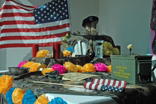 This altar was built by MWR in commemoration of fallen heroes. It was constructed for the Day of the Dead celebration and is on display at the El Paso Museum of History.
