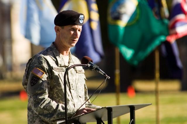 Maj. Gen. Howard Bromberg, Fort Bliss commanding general, gives the keynote address at the Veterans Day celebration Friday at Memorial Circle.