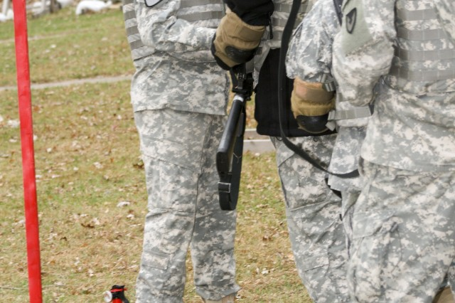 U.S. Army Sustainment Command Soldiers' riles are inspected by Sgt. 1st Class Carlos Solis, the Range Safety Officer, prior to their M16A2 Rifle qualification. The Soldiers qualified at Klaes-Tralau Memorial Range near Shaffton, Iowa, about 20 miles north east of Rock Island Arsenal Nov. 7. Soldiers of ASC manned the range during the week to support the command's training requirements on the M9 Pistol and the M16A2 Rifle.