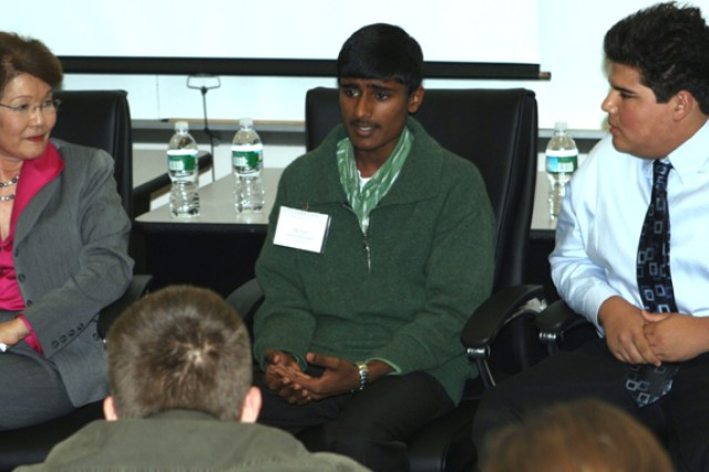 Denesh Ratnasingam, center, speaks about challenges of being a military child while Patty Shinseki, wife of former Army chief of staff retired Gen. Eric Shinseki; fellow military child Kevin Phipps and West Point cadets studying developmental psychology listen during a panel discussion Nov. 7 at Thayer Hall.