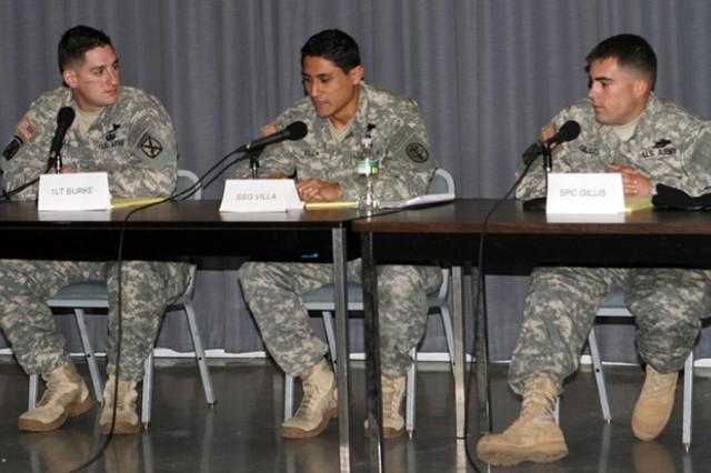 First Lt. Robert Burke, left; Staff Sgt. Peter Villa; and Spc. Ian Gillis; all of whom were wounded in combat and are assigned to West Point's Warrior Transition Unit, participate in a panel about leading in times of trauma for cadets studying military leadership.