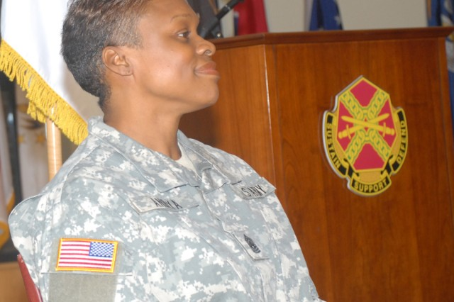 Installation Management Command-Europe Command Sgt. Maj. Tracey Anbiya at her assumption of responsibility ceremony Nov. 13 in Heidelberg, Germany.