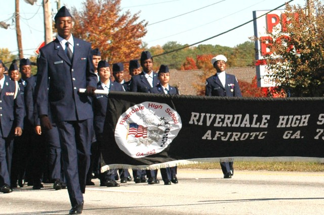The Riverdale High School Air Force Junior ROTC class  march proudly down Highway 85 at the Veteran's Day parade held on Nov. 8, 2008 in Riverdale, Ga.  The band has participated in the parade for three consecutive years.