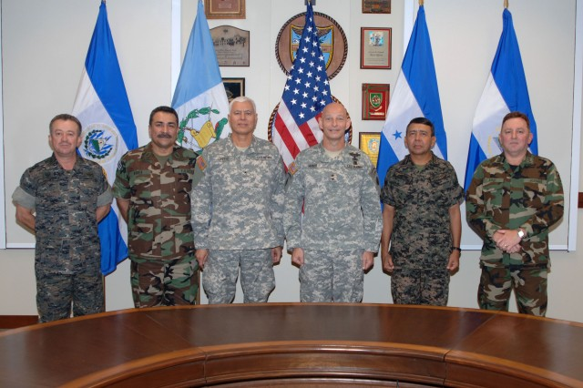 FORT SAM HOUSTON, Texas - During a break in the Central American Army Leaders Conference at the U.S. Army South headquarters here, senior army leaders take a group photo together Nov. 3.  Attendees included (left to right) Guatemalan Army Defense Force chief-of-staff Brig. Gen. Ronald Mauricio Illescas, Salvadoran Army chief-of-staff Brig. Gen. Ruben Oswaldo Rubio, ARSOUTH deputy commander Brig. Gen. Manuel Ortiz, ARSOUTH commander Maj. Gen. Keith M. Huber, Honduran Army commander Brig. Gen. Jose Rosa Doblado, and Nicaraguan Army chief-of-staff Maj. Gen. Julio Cesar Aviles.