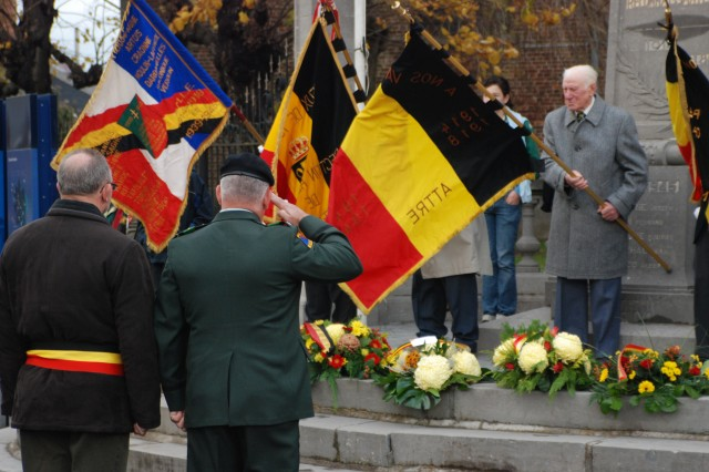 "The U.S. Army Garrison Benelux provides oversight to three additional garrisons in Belgium and the Netherlands who support NATO operations worldwide. In its continued commitment to its host nation communities, each garrison participated Armistice Day celebrations throughout the two countries. Col. James Drago, commander, USAG Benelux, partnered with André Desmarlieres, the mayor of Brugelette, Belgium, to honor Belgian and U.S. veterans who have fought in our countries' wars. ""Our armies are strong allies within NATO, and I'd like to have a special thought for those Belgian and U.S. Soldiers who are currently partnering in NATO operations to bring hope to foreign lands,"" said Drago."