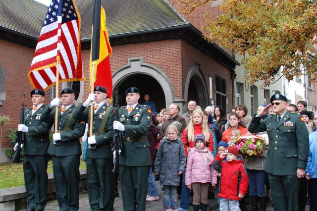 The Chievres Garrison Commander Lt. Col. Brian England and Color Guard joined the ChiAfA..vres community as they paid tribute to the World War I victims on Armistice Day, Nov. 11