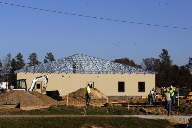 Employees from Murillo Modular group of Texas work on the new Child Development Center at Fort McCoy.