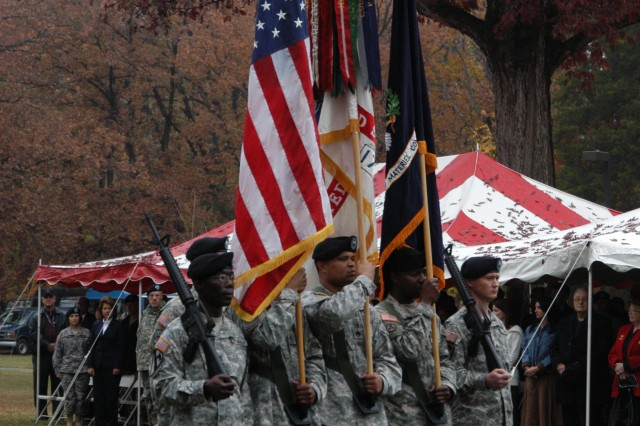 AMC ceremonial color guard during Dunwoody and Griffin's change of command ceremony, Nov. 14.
