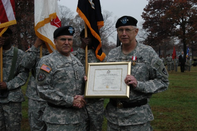 Casey joins Griffin for a photo during Dunwoody and Griffin's change of command ceremony conducted at AMC's parade field, Nov. 14. Griffin also retired during the ceremony.