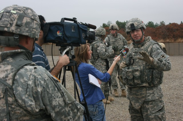 Col. Scott L. Thoele, Commander, 33rd Infantry Brigade Combat Team, Illinois National Guard conducts an interview during a mission rehearsal exercise at Ft. Bragg, N.C. November 13, 2008.  Soldiers from the 33rd participated in a mission rehearsal exercise prior to deployment to Afghanistan as Task Force Phoenix VIII in support of Operation Enduring Freedom.