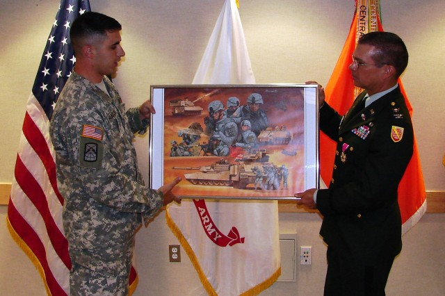 Col. Blaine receives reitrement gift