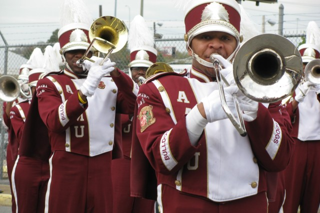 "Members of the Alabama A&M Maroon & White Marching Band perform ""God Bless America"" at the beginning of the Veterans Day Parade. The parade included bands from Butler High School, Huntsville High School, Lee High School and Johnson High School."