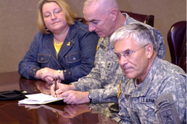 Chief of Staff of the Army Gen. George W. Casey Jr. (far right) seated next to 1st Cavalry Division Commander Maj. Gen. Daniel P. Bolger (center) made his second visit to the 1st Cav. Div. in four months to address family readiness concerns with Soldiers and their families at Fort Hood, Texas Nov. 17. During a press conference, Casey said that mental health care and veteran care was of the utmost importance, and that the Army is developing new programs to combat many of the wellness issues that Soldiers face upon their return from deployment.