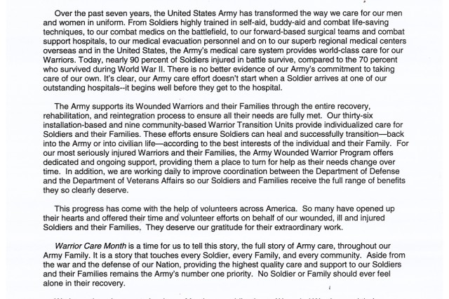 Warrior Care Month - Open letter to our Army communities