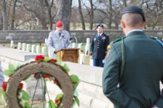 German officer Col. Michael Oberneyer speaks during a memorial ceremony   Nov. 14 to honor German and Italian prisoners of war who were buried in Fort Riley's cemetery.