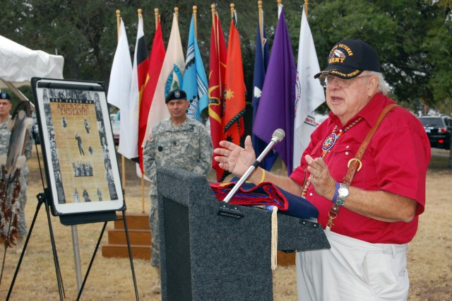 Retired Army Col. Eugene Thompson addressed a crowd in front of the U.S. Army South headquarters about Native Americans Nov. 14.