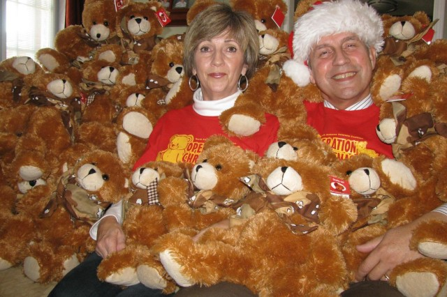 The home of John and Brenda Perry is the temporary residence of 500 holiday bears that will be given to the children of military and deployed DoD civilians and contractors at the fifth annual Operation Christmas Bear. The holiday party, made possible by donations from local businesses and organizations, will be Dec. 6 from 1 to 4 p.m. at the Cahaba Shrine Temple.