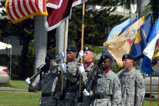 FORT SHAFTER, Hawaii -- (Nov. 25, 2008)  The 18th Medical Command (Deployment Support) color guard retires the colors after the activation ceremony held here on historic Palm Circle.  The 18th MEDCOM (DS) will provide command and control, administrative assistance and technical supervision for all assigned and attached medical units in the Pacific Command Area of Responsibility.