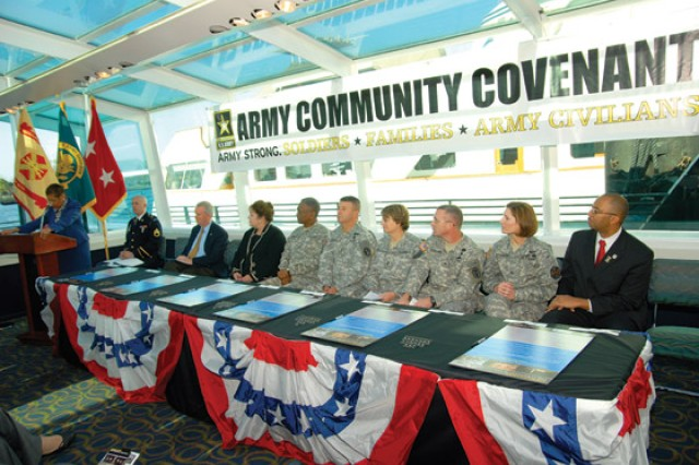 District and Army leaders convene on the Odyssey at the Southwest Waterfront for the Army Community Covenant signing.  This was the first signing of an Army covenant with the District of Columbia.