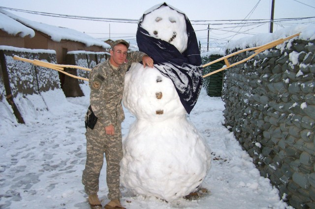 A Soldier in Afghanistan celebrates the holidays.