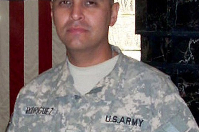 1st Sgt. Albert Rodriguez, first sergeant for the Headquarters Company, 4th Battalion, 4th Aviation Regiment.