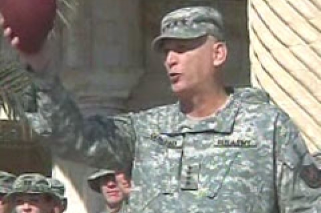 "Gen. Odierno leads MNF-I Soldiers in a ""Go Army! Beat Navy!"" cheer."