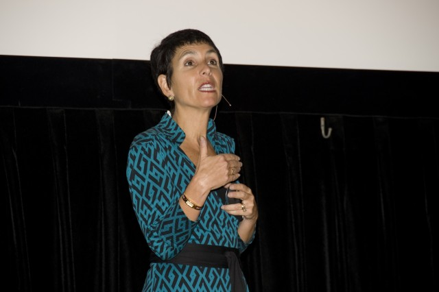 Nutritionist Leslie J. Bonci, who guides the food choices of football players and other athletes at the University of Pittsburgh Medical Center, speaks in Bliss Hall Nov. 4 as part of APFRI's Women's Health Day. The day-long program focused on small changes that women can make to live longer, healthier lives.