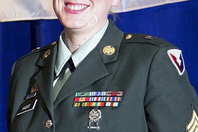 Sgt. Alicia Hight, enlisted aide for Maj. Gen. Robert M. Radin, the commander of the U.S. Army Sustainment Command, Rock Island Arsenal, Ill., was the Army's nominee for the inter-service award hosted by the USO. Hight was the U.S. Army's 2008 Enlisted Aide of the Year.