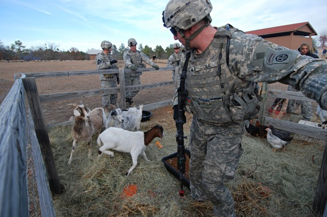 Spc. Ryan Cole of Company D, 2nd Battalion, 325th Airborne Infantry Regiment, 2nd Brigade Combat Team, 82nd Airborne Division, tries not to disturb the animals as he searches a corral for weapons hidden by a local insurgent force during a situational training exercise at Fort Bragg, N.C., Dec. 5, 2008.