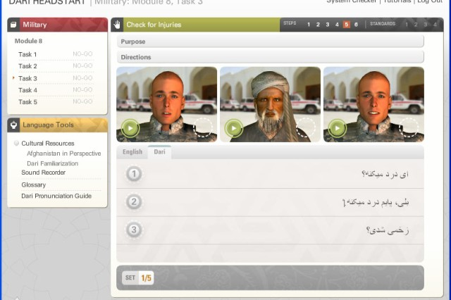 Users of the Headstart program take advantage of technology to learn Dari, a language spoken in Afghanistan.  In this screenshot from the application, learners listen as each avatar speaks a phrase. Then students match verbal phrases with the written ones displayed below.