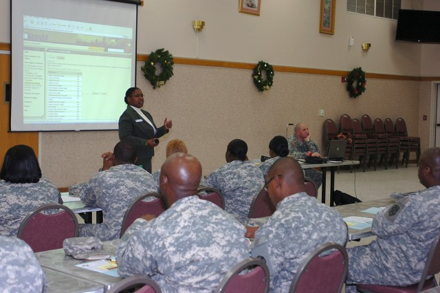 Frances Judkins, an guidance counselor with Fort Hood's Education Services Division, speaks to noncommissioned officers from the 15th Sustainment Brigade, 13th Sustainment Command (Expeditionary), about available education opportunities Dec. 2 during a NCO professional development session hosted by the brigade at the Clear Creek Community Events Center.