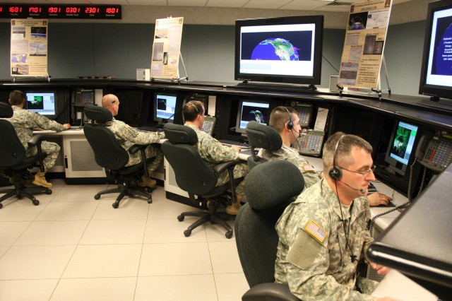 Alaska National Guard members of Bravo Crew, 49th Missile Defense Battalion, operate the ground-based midcourse defense portion of the Ballistic Missile Defense System May 5, 2007, at Fort Greely, Alaska. The system has been manned constantly since achieving limited defensive capability in 2004.