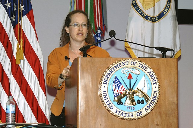 Dr. Justine Cassell, director of the new Center for Technology and Social Behavior, speaks to the thousands gathered at the 26th Army Science Conference.