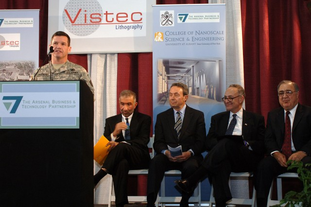 Watervliet Arsenal celebrated the arrival of its newest civilian tenant, Vistec Lithography Inc., on Nov. 25, 2008. Col. Scott N. Fletcher, commander of the Arsenal, welcomes, from left to right, Alain E.Kaloyeros of the College of Nanoscale Science and Engineering in Albany; Assembly Majority Leader Ronald Canestrari; U.S. Sen. Charles Shumer (D-N.Y.); and Papken Der Torossian of Vistec Lithography.