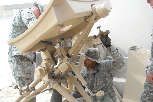 Sgt. Virruet and crew from JTAGS CENTCOM conduct TACSTAR antenna emplacement.