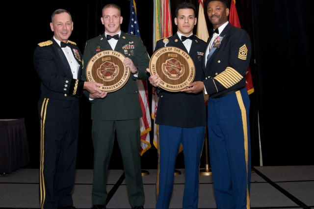 The Installation Management Command honored the Stalwart Award nominees and winners during a banquet and awards ceremony Dec. 10 at the Loews Coronado Bay Resort in San Diego, Calif. These individuals excelled in support of the Army, Soldiers and their Families from July 2007 to July 2008.From left: Lt. Gen. Robert Wilson, commanding general, Installation Management Command; NCO of the Year Staff Sgt. Kevin A. Miller, traffic accident investigator, 209th Military Police Detachment, USAG Fort Benning, Ga.; Soldier of the Year Sgt. Marco G. Garced, military police patrolman, Garmisch DES-PMO, USAG Garmish, Germany; and Command Sgt. Maj. John M. Gaines, Jr.