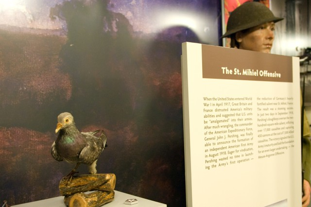 "World War I signal pigeon ""President Wilson"" served with the Tank Corps at St. Mihiel, France where it carried critical messages identifying the location of enemy machine-gun positions that were blocking the American advance. The pigeon is part of the ""U.S. Army Pentagon Exhibit -- A Living History"" that opened Dec. 15."
