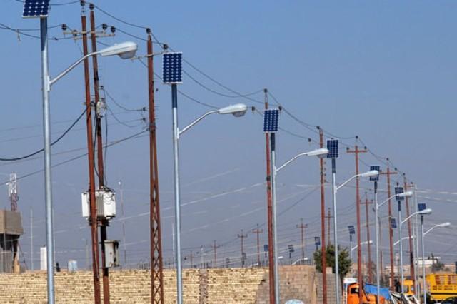 Solar power helping light streets of Iraq