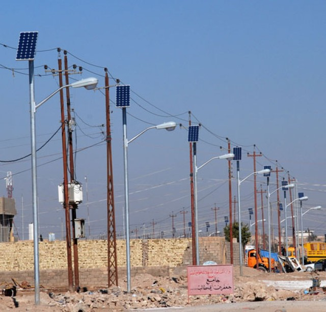 Solar power helping light streets of Iraq