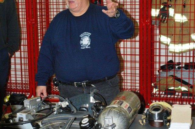Maryland Fire Rescue Institute instructor Joe McNeese explains the importance of a self contained breathing air pack and how it works.