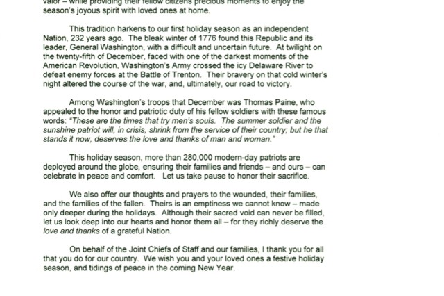 Chairman of the Joint Chiefs of Staff 2008 Holiday Message