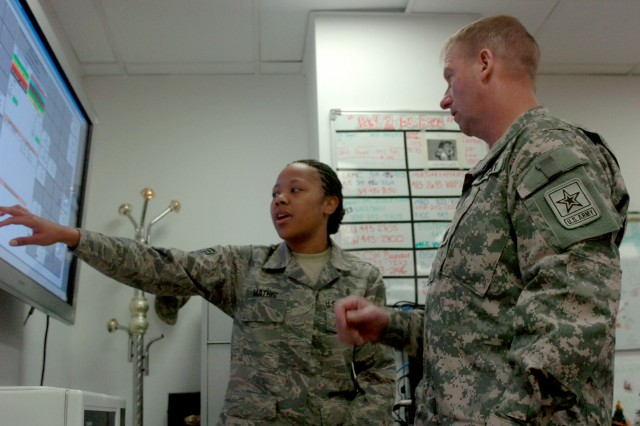 Air Force Staff Sgt. Antoinette Mathis, a patient administrative sergeant attached to the 332nd Expeditionary Medical Group and Columbus, Georgia native, explains to Sgt. Maj. of the Army Kenneth O. Preston how an LCD monitor is used to track patient data Dec. 21 at the Air Force Theater Hospital, Joint Base Balad, near Balad, Iraq. (U.S. Army photo by Pvt. 1st Class Jesus J. Aranda, Task Force Lightning Public Affairs)
