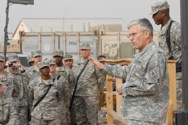 Army Chief of Staff Gen. George Casey Jr. speaks to troops about the future of the Army and how future transformations will affect them, during his visit in Iraq Dec. 22.